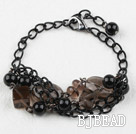 Smoky Quartz and Black Seashell Beads Bracelet with Metal Chain