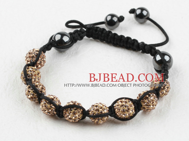 10mm Golden Color Rhinestone Ball Woven Drawstring Bracelet with Adjustable Thread