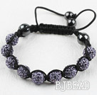 10mm Light Purple Rhinestone Woven Drawstring Bracelet with Adjustable Thread