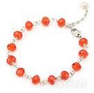 Cute style faceted red manmade crystal bracelet under $ 40