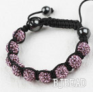 10mm Purple Color Rhinestone Woven Drawstring Bracelet with Adjustable Thread