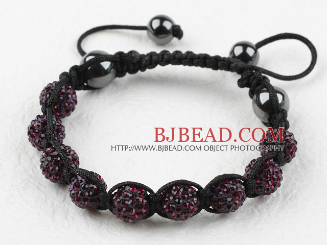 10mm Dark Purple Color Rhinestone Ball Woven Drawstring Bracelet with Adjustable Thread