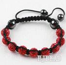10mm Red Rhinestone Weaved Drawstring Bracelet with Adjustable Thread