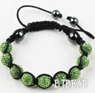 10mm Apple Green Rhinestone Ball Weaved Shamballa Bracelet with Adjustable Thread