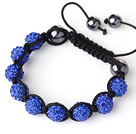 10mm Dark Blue Rhinestone Ball Weaved Ball Bracelet with Adjustable Thread