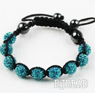 10mm Lake Blue Rhinestone Ball Woven Drawstring Bracelet with Adjustable Thread
