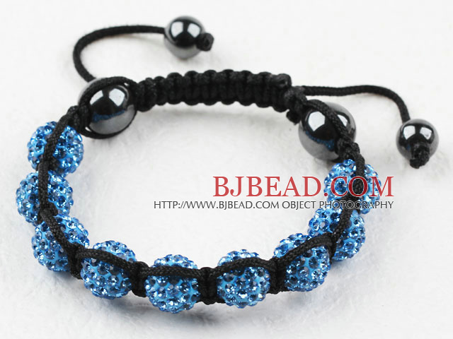 10mm Blue Rhinestone Woven Drawstring Bracelet with Drawstring Adjustable Thread