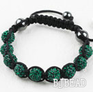 10mm Darl Green Rhinestone Ball Woven Drawstring Bracelet with Adjustable Thread
