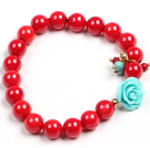 Simple Style Single Strand Red Coral Beads Stretch/ Elastic Bracelet With Turquoise Flower Charm