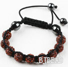 10mm Red Brown Color Rhinestone Ball Woven Drawstring Bracelet with Adjustable Thread
