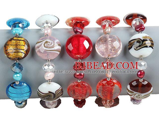 5 PCS Beautiful Multi Color Natural Pearl Crystal Colored Glaze Bead Bracelet (Random Color)