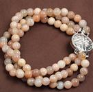 Fashion Three Strand Sunstone Beads Bracelet