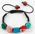 Fashion Style Assorted Multi Color Turquoise Flower Woven Drawstring Bracelet with Adjustable Thread under $ 40