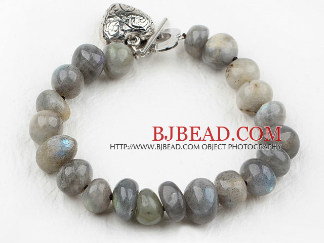 Fillet Flashing Stone Bracelet with Heart Shape Metal Accessory