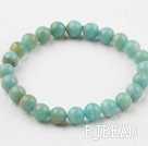 8mm Round Natural Amazon Stone Elastic Beaded Bracelet