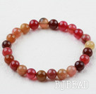 8mm Round Three Color Jade Elastic Beaded Bracelet