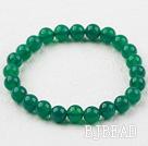 8mm Round Green Agate Elastic Beaded Bracelet