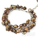 dyed brown shell and pearl bracelet with lobster clasp