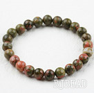 8mm Round Green Piebald Stone Elastic Beaded Bracelet