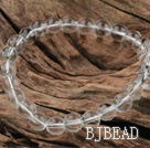 8mm Round White Crystal Glass Elastic Beaded Bracelet under $ 40