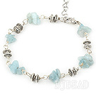 simple aquamarine chips bracelet with lobster clasp