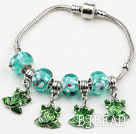 Fashion Style Green Colored Glaze and Frog Shape Accessories Charm Bracelet