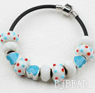 Fashion Style Light Blue Colored Glaze Charm Bracelet under $ 40