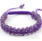 Fashion Style Two Rows Round Amethyst Weaved Adjustable Drawstring Bracelet