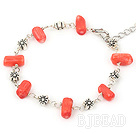 simple red coral bracelet with lobster clasp