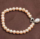 Simple Elegant Style 7-8Mm Natural Pink Freshwater Pearl Elastic/ Stretch Bracelet With Pearl Charm