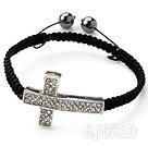 Sideway/Side Way Two Row White Cross with White Rhinestone Woven Adjustable Drawstring Bracelet with Hematite Beads under $ 40
