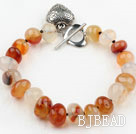 Fillet Natural Color Agate Bracelet with Heart Shape Metal Accessory