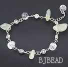 simple white pearl and green rutilated quartz bracelet with lobster clasp