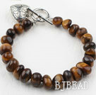 Fillet Tiger Eye Bracelet with Heart Shape Metal Accessory