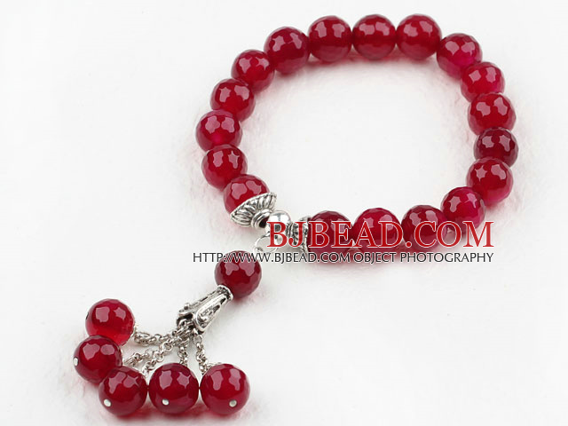 10mm Faceted Rosy Red Agate Elastic Bracelet