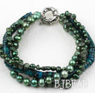Green Series Multi Strands Green Freshwater Pearl and Phoenix Stone Bracelet