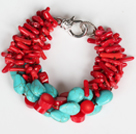 Multi Strands Assorted Red Coral Branch and Oval Shape Turquoise Bracelet under $ 40