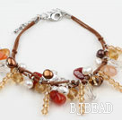 Brown Series Assorted Pearl Crystal and Agate Bracelet with Brown Thread