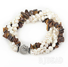Multi Strands White Freshwater Pearl and Tiger Eye Bracelet