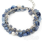 pearl and blue gem bracelet with metal chain and lobster clasp