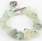Irregular Shape Faceted Prehnite Stone Bracelet with Heart Shape Metal Accessories
