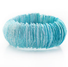 Sky Blue Color Trochus Shell Stretch Bangle Bracelet