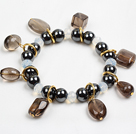 Fashion Charm Style Tungsten Steel Stone Beads Elastic/ Stretch Bracelet With Smoky Quartz Charms
