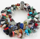 Multi Strands Multi Color Stone Chip Bracelet under $ 40