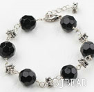Classic Design 12mm Round Black Crystal Bracelet with Extendable Chain under $ 40