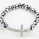 White Rhinestone Sideway/Side Way Cross and Silver Color Crystal Stretch Bracelet under $ 40