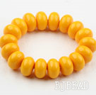 Bold Style Yellow Abacus Shape Immitation Beeswax Elastic Bangle Bracelet