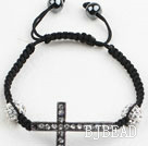 Fashion Style Sideway/Side Way Black Rhinestone Cross Bracelet with Drawstring Adjustable Cord under $ 40