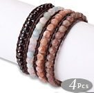 Fashion Style 4pcs Single Strand Natural Round Gemstsone Beaded Brown Leather Bracelet