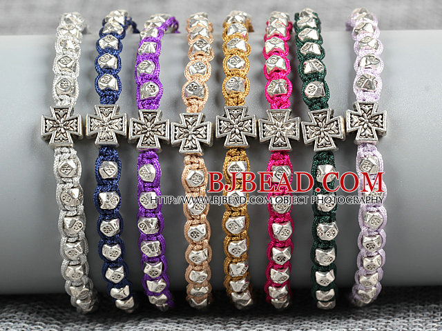 8 PCS Fashion Nickel Free Alloyed Cross Charm Multi Color Thread Hand-Knitted Bracelet (Random Color)